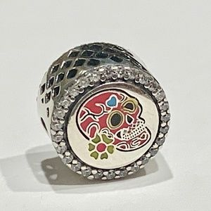 Authentic Pandora Day Of The Dead Pink Skull Charm